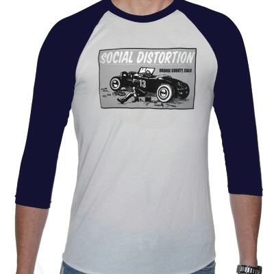 social-distortion - Hotrod Raglan (White/Navy)
